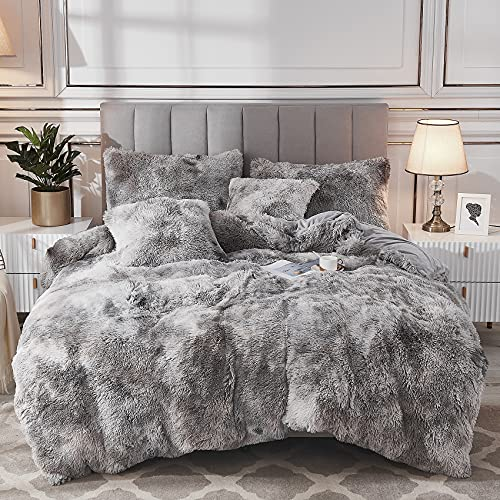 Uhamho Tie Dye Printed Faux Fur Bedding Set Modern Abstract Shaggy Plush Duvet Cover with Pillow Shams, Ultra Soft Warm and Durable