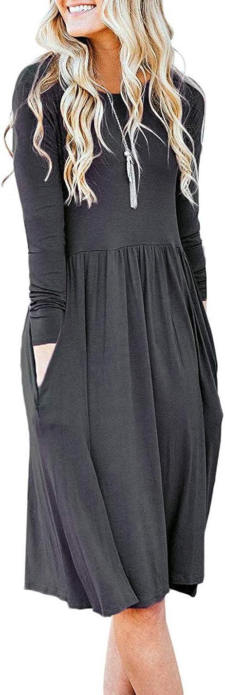 Basic Faith Women's S-3XL Ultra Soft Modal Empire Waist Pleated Swing Dress W/Pockets