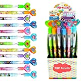 Tiny Mills 24 Pcs Ice Cream Multi Point Stackable Push Pencil Assortment with Eraser for Ice Cream Birthday Party Favor Prize Carnival Goodie Bag Stuffers Classroom Rewards Pinata Fillers