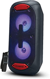 Fisher FBX520 5-inch Portable Bluetooth Speaker with Strap and Remote Control, Colorful Lights, Red