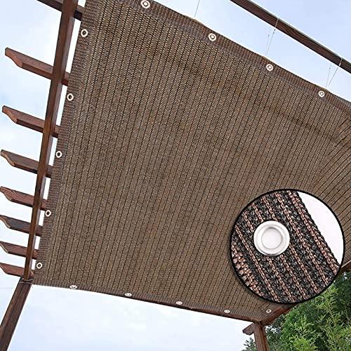 HWLL Malla Sombreo Sombra de Pérgola Marrón/Color Café, Red de Sombra de Protección Solar al 90% con Ojales y Cuerda, Lona de Malla Duradera para Cubierta de Ventanas de Porche de Cubierta de Mirador