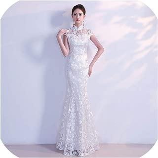 White Cheongsam Long Qipao Chinese Traditional Wedding Dress China Clothing Store Oriental Size Xs S M L XL XXL
