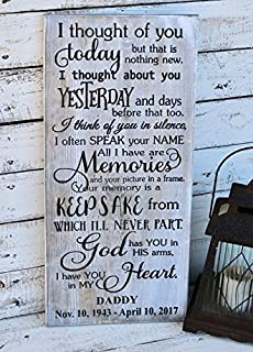 WOOD DECOR I thought of you today, memorial plaques made of wood, Wooden engraved sign