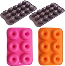 Silicone Baking Molds Mini Donut,2Packs 6-Cavity Rubber Donut Baking Pan,Nonstick Baking Mold,2Packs 15 Cups Heart Shaped Chocolate Mold Cake Cookie Candy Baking Mold Deep (Set of 4),Rose,Orange