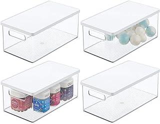 mDesign rangement maquillage empilable (lot de 4) – boite maquillage pratique avec couvercle – boite en plastique pour un ...