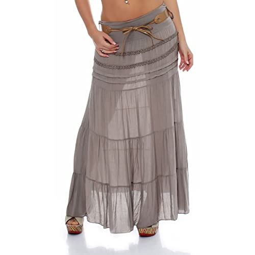 292f692c57 Trendy Diva Ladies Cotton Skirt High Waisted Gypsy Maxi Twin Layer  Asymmetric Long for Holiday Carnival