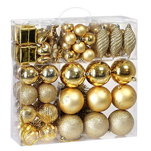 Deuba Weihnachtskugeln 103 Set Gold Aufhänger Christbaumschmuck Christbaumkugeln Weihnachtsbaumkugeln Weihnachtsbaumschmuck