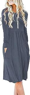 Women Casual Long Sleeve Dresses Loose Plain Pleated...