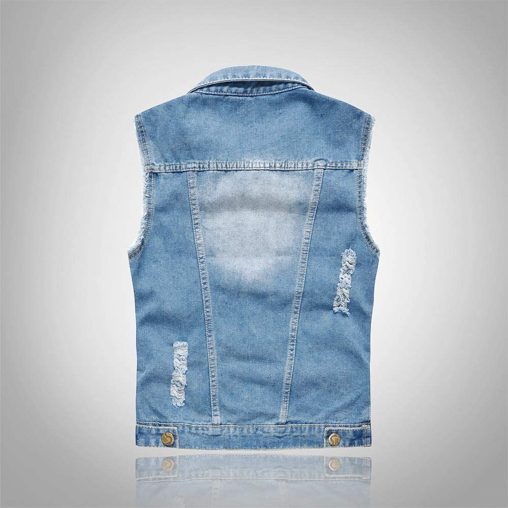 GREFER-Mens Denim Vest Fashion Casual Plus Size Sleeveless Vests Vintage Hole Shirts Tops with Button 2 Pockets