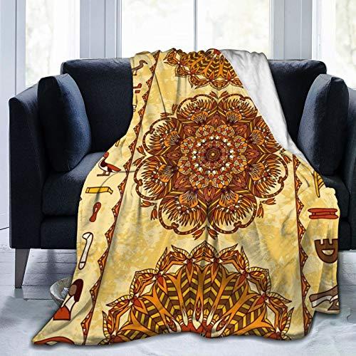 DOWNN Manta de franela de forro polar con palabras egipcias antiguas y flores impresas en 3D, mantas cálidas para sofá de 132 x 102 cm