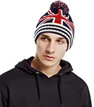 American Flag Knitted Hat Slouchy Beanie with Pom Pom Winter Thick Ski Hat Casual Knit Hat for Men and Women