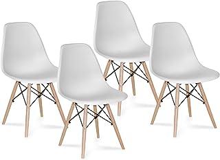 CAMBIA TUS MUEBLES - Pack 4 sillas Comedor salón NÓRDICA, Blanca con Patas en Madera, Estilo nórdico