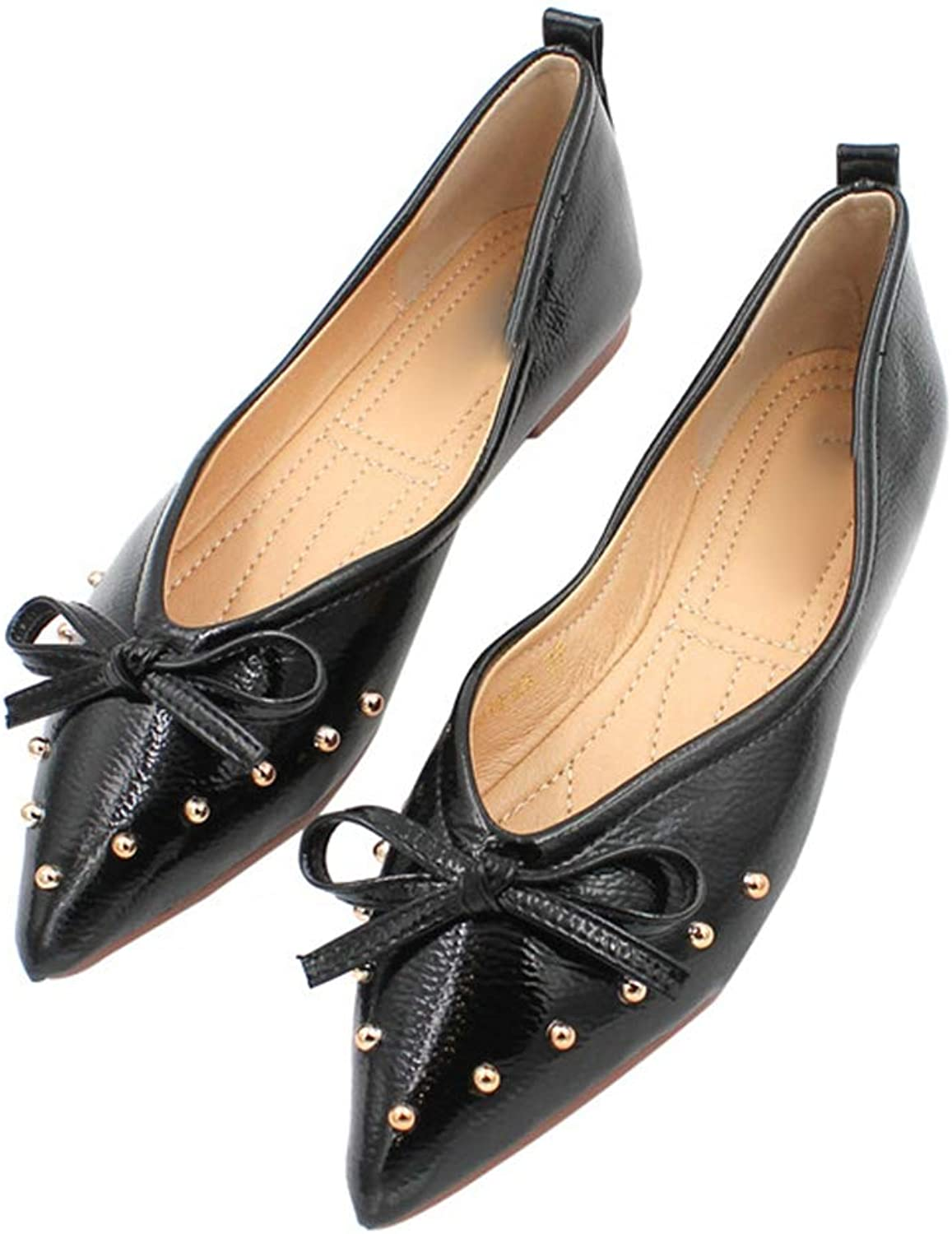 August Jim Flats shoes Women Comfortable Pointed Toe Black Bow Soft Sole Fat Heel shoes
