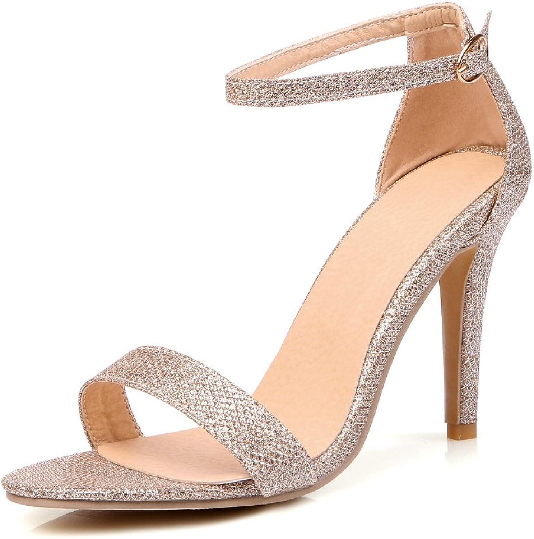 AIWEIYi Womens Peep toe Buckle Strap Stilettos High Heel Dress Sandals