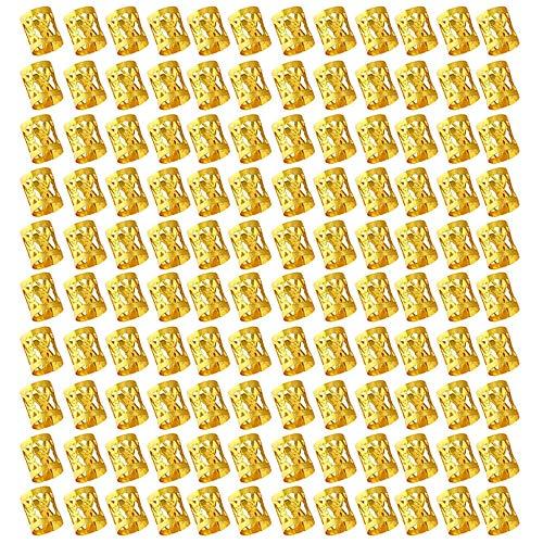FOGAWA 120 Stück Haar Spule Dreadlocks Perlen Haarschmuck Perlen 8mm Braid Ringe Clips Metall Manschetten Flechten Haar Schmuck Haarspule Haar Cuffs Golden für Haar Zöpfe Zubehör