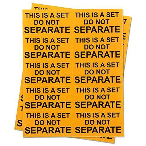 """Amazon FBA Labels This is A Set Do Not Separate Warning Labels Self Adhesive Stickers (Orange Black / 1"""" x 2"""") - 300 Labels per Package"""