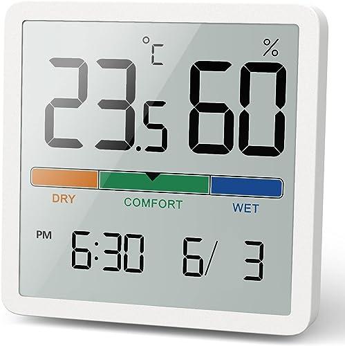 NOKLEAD Termómetro interior del higrómetro, termómetro digital de escritorio con monitor de temperatura y humedad, te...
