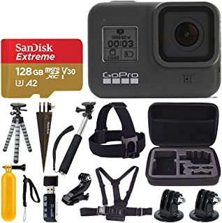 GoPro HERO8 Black Waterproof Action Camera w/Touch Screen 4K HD Video 12MP Photos +Sandisk Extreme 128GB Micro Memory Card...