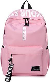 DNFC Canvas Schulrucksack Mädchen Jungen Rucksack Fashion Schulranzen Teenager Schultaschen Freizeitrucksack Mode Kinderrucksack Daypack Backpack Pink
