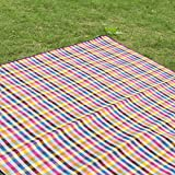 Sutekus Extra Large Picnic Blanket Water Resistant Outdoor Plaid Mat for Camping Hiking on Grass Beach 6.5'X6.5' (Rainbow)