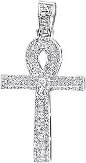 Ankh Diamond Pave Cross Pendant for Men Egyptian Symbol of Life 14k Gold 1.65ctw