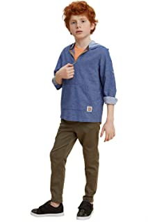 DeFacto Side Pocket Drawstring Elastic Waist Straight Cut Pants for Boys