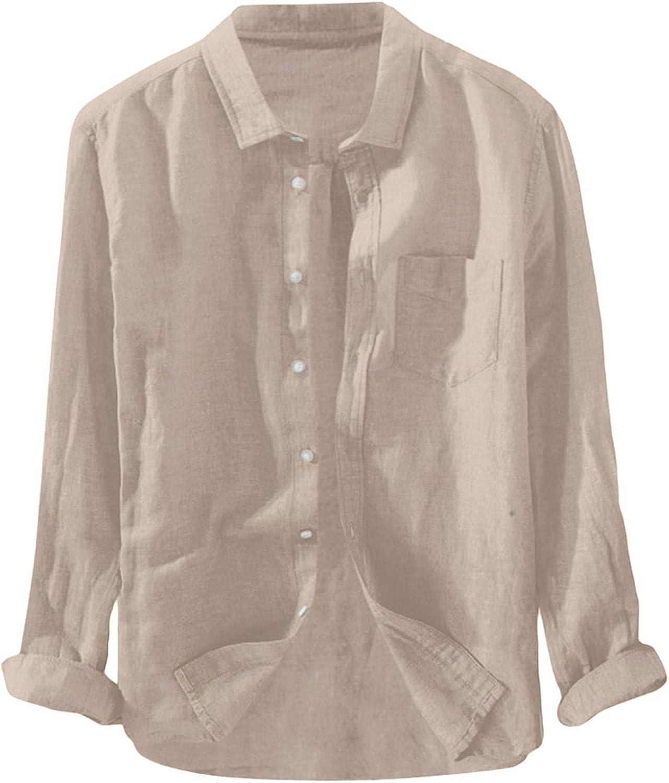 JSFYOU Long Sleeve Button Down Shirt Men Cotton Linen Casual Relaxed Fit Trendy Lapel Collar Shirts Beach Shirt Home Top