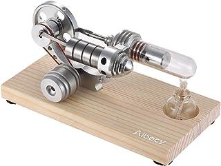 Aibecy Mini Motor de Motor de Stirling de Aire Caliente Generador de Electricidad Base de Madera Física Ciencia Juguete Educativo