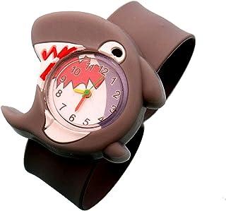 Lovely Kids Watches Cartoon Silicone Children Wristwatch (Grey Shark)