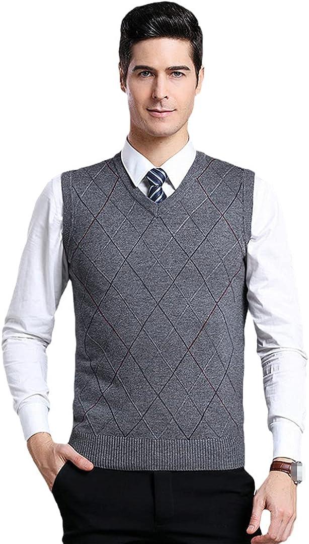 GYSAFJ Men Sweater Vests Streetwear Wool V-Neck Vest Autumn Winter Striped Sweater