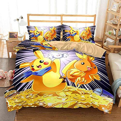 JCCYFRGL Bedding Set Super King 260X220 Cm Cute Anime Elf Duvet Cover And Pillowcase Microfibre 3D Digital Print Bedding,For Children 3 Piece Print Girl Boy Bedroom Duvet Covers