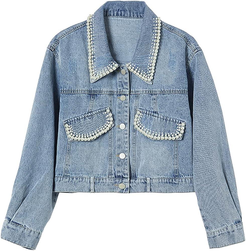 Ladyful Women's Cropped Pearl Denim Jacket Jean Coat Outerwear
