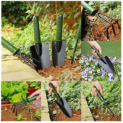 SNOWSONG Garden Tools Set 4 Piece Garden Kit with Trowel,Cultivator,Transplanter, Weeder,Non-Slip Handle -Best for Lawn & Garden Care (4 Pcs Set, Green)