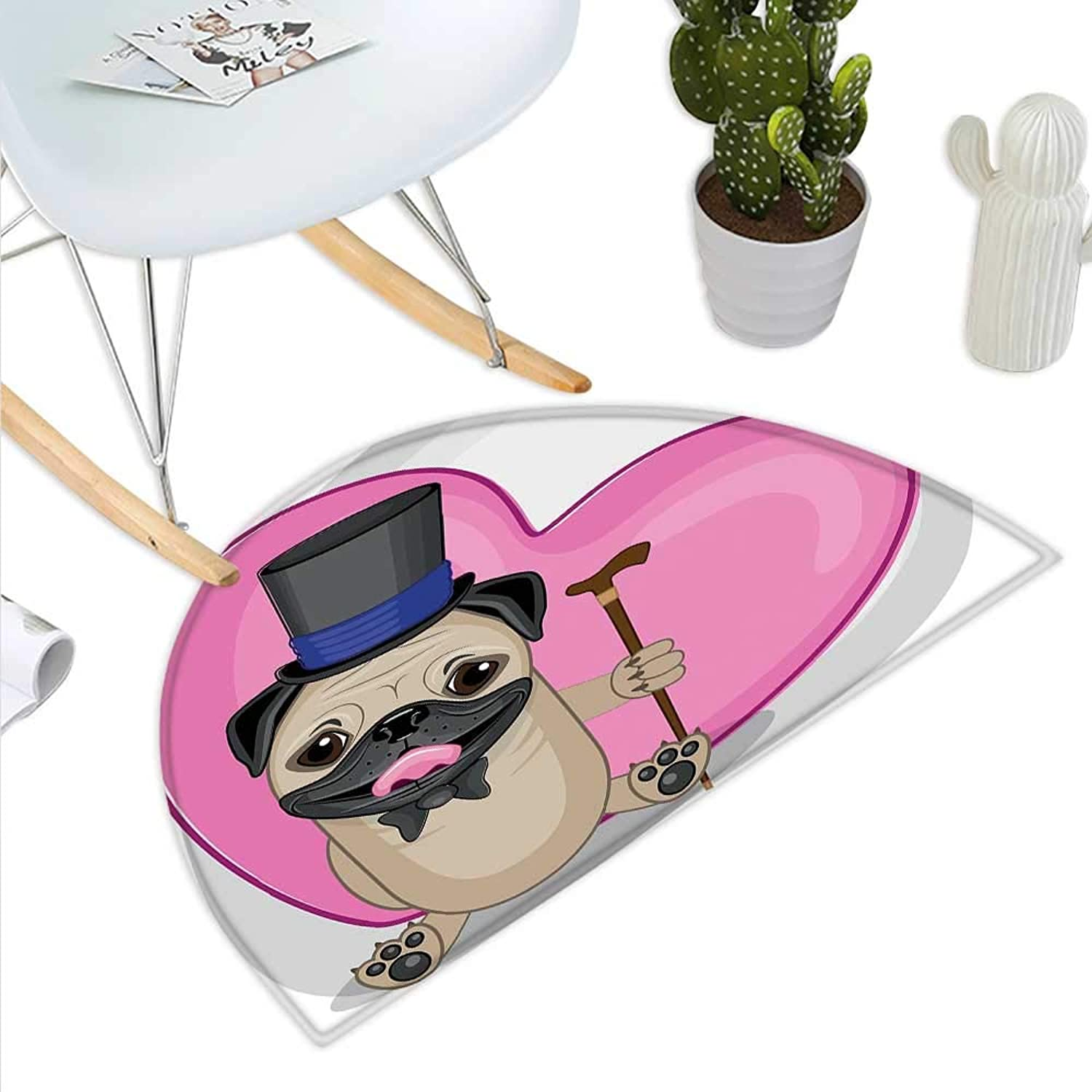 Pug Semicircle Doormat Presentable Funny Dog with a Top Hat and a Cane in Front of a Giant Heart Halfmoon doormats H 35.4  xD 53.1  Pink Black Eggshell