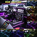 Car LED Strip Light, Multicolor RGB Music Sync Rhythm Car Interior Lights - 5 in 1 with 6 Meters/236.22 inches Fiber Optic, Ambient Lighting Kits, Sound Active Function and Wireless Remote Control
