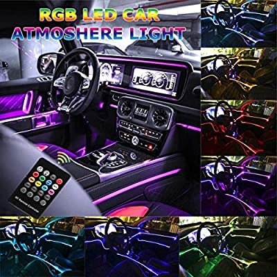 Car LED Strip Light, Multicolor RGB Music Sync Rhythm Interior Car Lights - 5 in 1 with 6 Meters/236.22 inches Fiber Optic, Ambient Lighting Kits, Sound Active Function and Wireless Remote Control