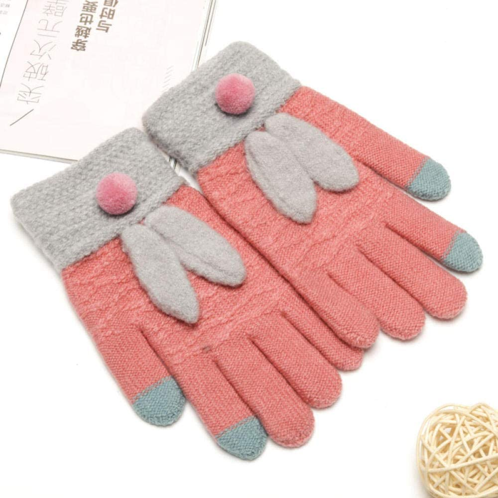 Women's Cold Weather Gloves Winter cute girl Maozhu rabbit points finger touch screen knitting five fingers