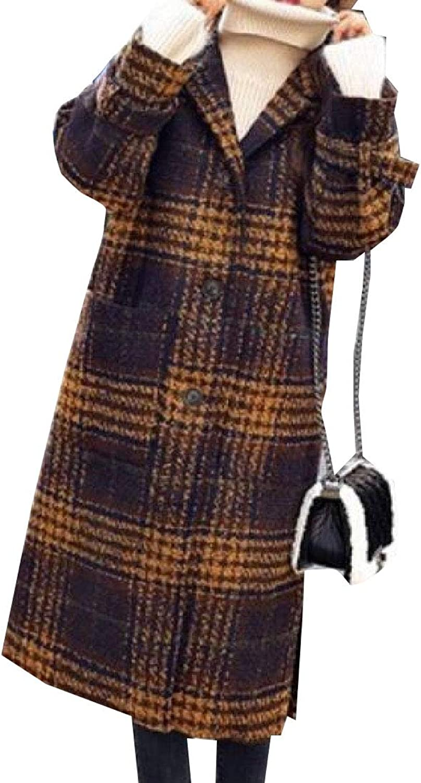 Desolateness Women's Wool Maxi Checkered Lapel Single Breasted Parkas Fashion Coats