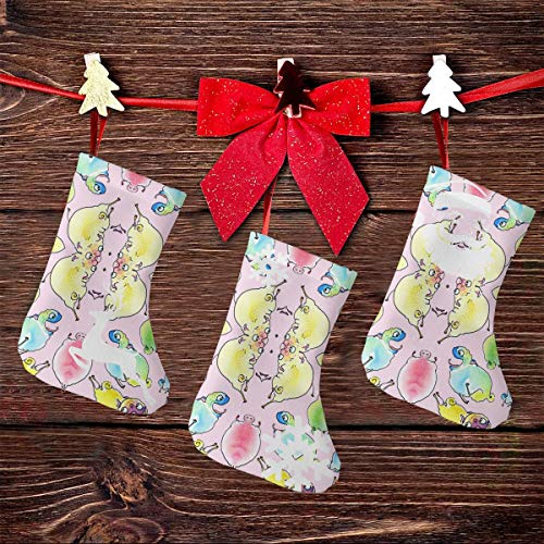NHJMH Leaping Pugs - Rainbow on Bubblegum Christmas Stocking 3 Pcs Set, 7.5'' Santa Socks, Sock Sack Gift Bag Christmas Tree Fireplace Ornaments Xmas Reindeer Party Decorations Kids Gifts