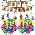smileh Decoracion Cumpleaños de Patrulla Canina Globos Feliz Cumpleaños del Pancarta Remolinos Colgantes para Niños Decoraciones de Fiesta de Paw Dog Patrol de SMLH