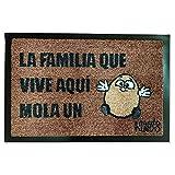 Felpudo Original Familia Que Vive aquí Mola un Huevo. Fibra de Coco. 60x40 cm