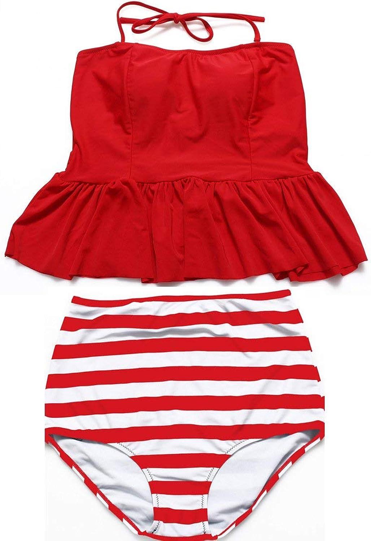 Oudan Präsident Conservative Swimsuit Swimsuit Swimsuit XL Wave Point - Bikini mit hoher Größe, Rot + Rote Streifen, 3XL (Farbe   Wie Gezeigt, Größe   Einheitsgröße) B07M7TD9J8  Niedrige Kosten 0fb6c4