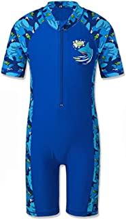 TFJH Little Boys' Swimsuit UPF 50+ UV Sun Protective One-Piece Shark Fish 7-8Years(Tag.No.128/134) A Blue
