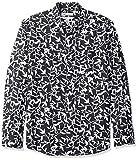 Amazon Essentials - Camisa regular de lino a cuadros con manga larga para hombre, Negro (black Leaf Print), US XXL (EU XXXL - 4XL)