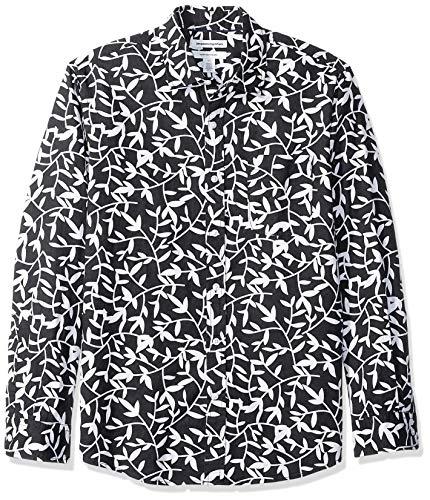 Amazon Essentials - Camicia da uomo a maniche lunghe in lino, a quadretti, vestibilità standard, Black Leaf Print, US M (EU M)