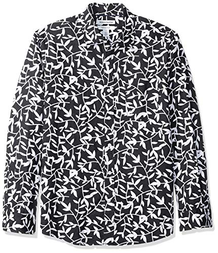 Amazon Essentials - Camisa regular de lino a cuadros con manga larga para hombre, Negro (black Leaf Print), US XXL (EU XXXL - 4XL)