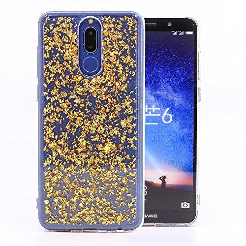 COOVY® Custodia per Huawei Mate 10 Lite/Nova 2i Sottile, Antiurto, in Silicone TPU, Cover con Scintillante Design Glitterato   Colore Oro