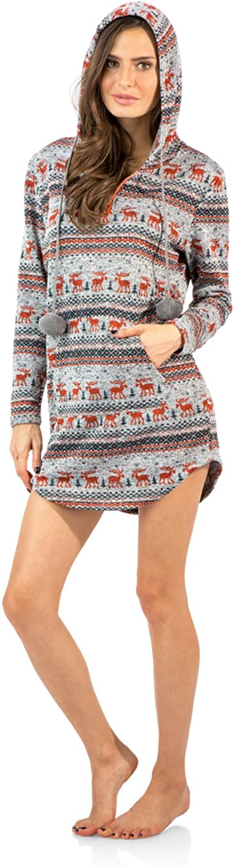 Ashford & Brooks Women's Sweater Fleece Lounge Hooded Zip Up Tunic Shirt