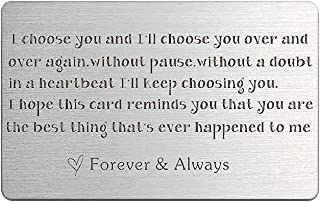 Wallet Card Anniversary card Gifts for Men Engraved Wallet Mini Love Note Boyfriend, Husband Gifts