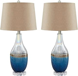 Ashley Furniture Signature Design - Johanna Glass Table Lamps - Beachy - Set of 2 - Clear & Blue